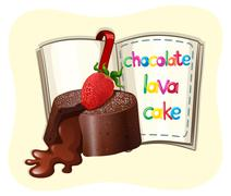 Chocolate lava cake and a book - stock illustration