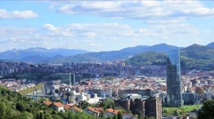 Aerial view of Bilbao City, Bizkaia, Basque country, Spain. Stock Footage