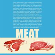Poster design with meat and text - stock illustration