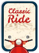 Banner design with classic ride - stock illustration