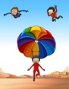 Three people doing skydiving Stock Illustration