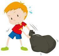 Little boy dragging a black bag Stock Illustration