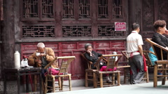 Chengdu tea house Stock Footage