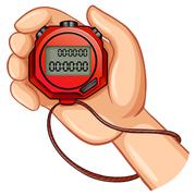 Person using digital stopwatch - stock illustration