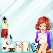 Office worker and other accessories Stock Illustration
