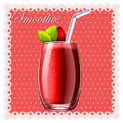 Strawberry smoothie in glass - stock illustration