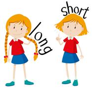 Opposite adjectives long and short - stock illustration