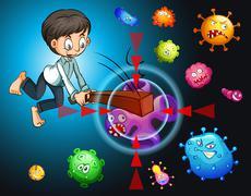 Man fighting against bacteria - stock illustration