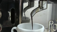 Stock Video Footage of Espresso Machine Pouring Coffe In Cup Close