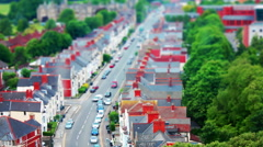 Busy Suburban Street. Tilt Shift Timelapse. Stock Footage