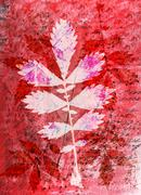 Abstract watercolor background and leaves. Mixed media - stock illustration