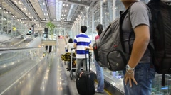 Thai people and foreiner traveller wait and walk at Suvarnabhumi Airport Stock Footage