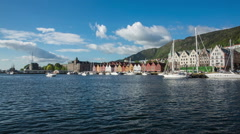 Port of old Hanseatic in Bergen, Norway Stock Footage