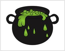 Witch cauldron with green potion, bubbling witches brew. Cartoon Vector illus - stock illustration
