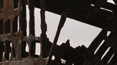 Front view of Shipwreck on Beach Stock Footage