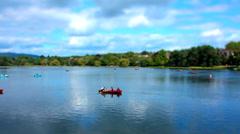 Boating Lake 3. Tilt Shift Timelapse. - stock footage