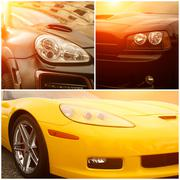 Stock Photo of Collage of beautiful sunny part of luxury cars
