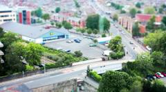 City Centre Road & Railway. Tilt Shift Timelapse. - stock footage