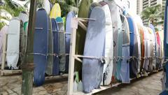 Stock Video Footage of Rental surfboards at Waikiki Beach Hawaii