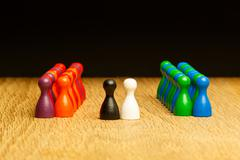Concept for: marriage, bride, groom and guests. With black and white pawn in  - stock photo