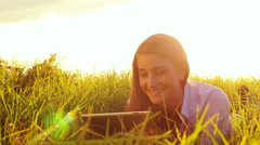 Young Woman Using Tablet Computer Touchscreen. Technology Outdoor Lifestyle. - stock footage