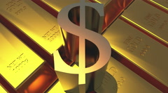 4k Gold bullion & rotate dollar symbol,wealth Ingot luxury finance goods. - stock footage