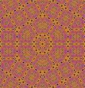Seamless ornaments orange violet blue - stock illustration