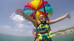 Two people paragliding  Stock Footage