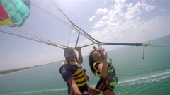 4k Following Parachute duplex tandem flight Stock Footage