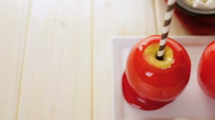 Handmade red candy apples for Halloween. Stock Footage