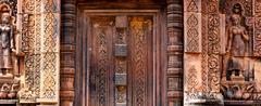 Beautiful blind stone door at Banteay Srei Stock Photos