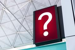 Question mark sign Lightbox in the airport - stock photo