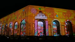 Video mapping on city building (Show of Light) Stock Footage