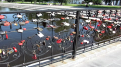 Bridge with love locks in Yekaterinburg - stock footage