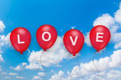 love text on balloon - stock illustration