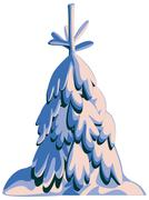 Fir-tree in snow. - stock illustration