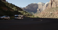 Tourists Traverse Switchbacks Zion National Park Stock Footage
