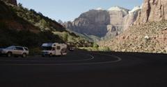 Tourists Traverse Switchbacks Zion National Park - stock footage