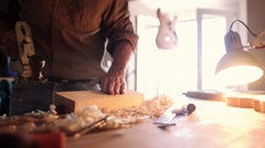 Luthier making a violin Stock Footage