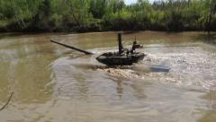 Tank T-72 under water. - stock footage