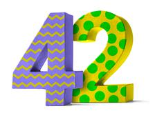 Colorful Paper Mache Number on a white background  - Number 42 Stock Photos