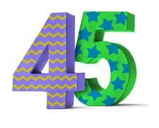 Colorful Paper Mache Number on a white background  - Number 45 Stock Photos