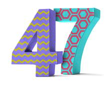Colorful Paper Mache Number on a white background  - Number 47 Stock Photos