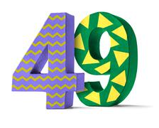 Colorful Paper Mache Number on a white background  - Number 49 - stock photo