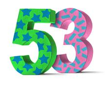 Colorful Paper Mache Number on a white background  - Number 53 - stock photo
