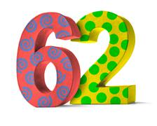 Colorful Paper Mache Number on a white background  - Number 62 - stock photo