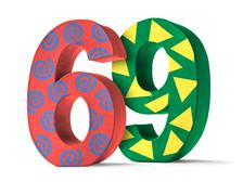 Colorful Paper Mache Number on a white background  - Number 69 - stock photo