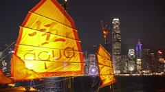 Hong kong skyline at night Stock Footage