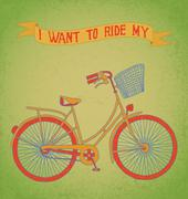 I want to ride my bicycle - stock illustration