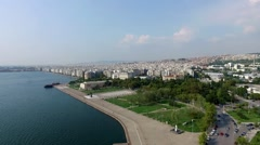 Cityscape drone amazing view of Thessaloniki city in Greece Stock Footage